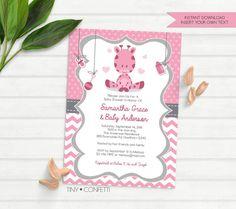 giraffe invitations, giraffe baby shower invitation, giraffe baby shower invites, giraffe baby shower theme, pink, girl baby shower, instant by TinyConfetti