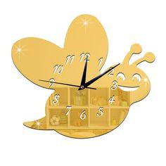 Kid Room Silent Cute Bee Mirror Wall Clock golden