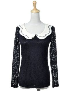 Anna-Kaci S/M Fit Black Floral Crochet Lacing Detail Double Layered Mock Collar Anna-Kaci. $30.90