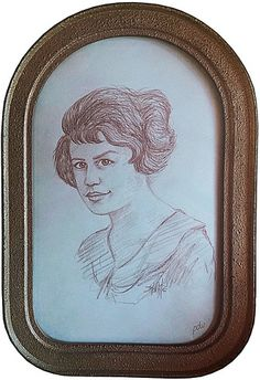Enid Martin Shelby - When I was in my early twenties, mom located old photos of both of my grandmothers at the age of 21. I rendered burnt sienna colored pencil sketches of both and framed them in matching antique frames. Shown is my mom's mother Enid Martin Shelby.