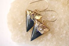 Gold leaf and galaxy resin triangle earrings by Tiny Galaxies
