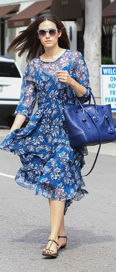 7348975c1b5f93 Emmy Rossum matches a blue Ralph Lauren Soft Ricky Bag while out and about  in Los