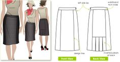 Slim skirt with back pleat treatment