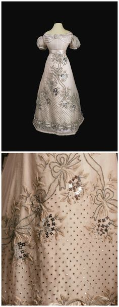 Ball dress belonging to maid of honor Princess Zinaida Yusupova, née Naryshkina, St. Petersburg, 1826-27. Tulle, satin, silk, ribbons, artificial flowers, chenille, beads, sequins. Collection of State Hermitage Museum.