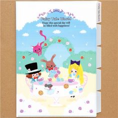 A4 plastic file folder 5-pocket Alice in Wonderland