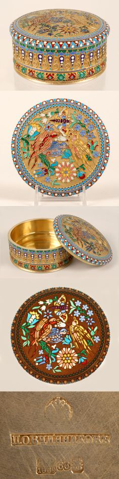 A Russian silver gilt, cloisonne and plique-a-jour enamel box, Pavel Ovchinnikov, Moscow circa 1889. The side of the circular box decorated with a multi-color band of geometric designs, the top worked in a colorful translucent enamel bird and flower motif within a band of turquoise enamel beads and geometric border.