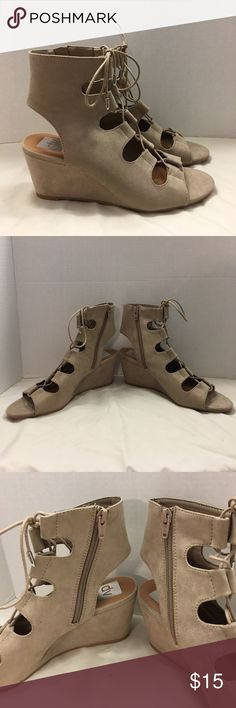 "Beige Gladiator Wedge Heels DV faux suede gladiator wedge heels, lace up with zipper sides, open toe. Wedge height is 2.5"".  Great condition with just some light marks on left shoe.  Please message me with any questions. DV by Dolce Vita Shoes Wedges"