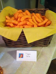 Winnie the Pooh party food - Tigger tails (puffy Cheetos)