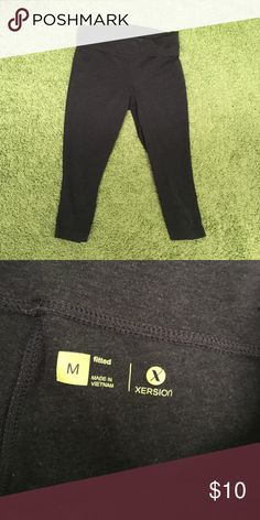 Gray fold over leggings Gray fold over leggings. Perfect condition. Cropped. xersion Pants Leggings