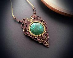 Crystal Quartz and Sunstone macrame pendant by EarthBoundMacrame