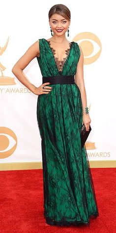The Modern Family actress stunned in a green and black lace CH Carolina Herrera dress, Giuseppe Zannoti shoes, Lorraine Schwartz jewelry and a Swarovski clutch.  Emmy Awards 2013 - Emmy Awards, Primetime Emmy Awards 2013 : People.com