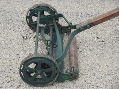 Trojan manual push reel lawn mower, WWI vintage w/steel wheels