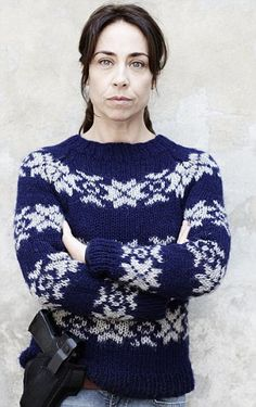We love this fair isle jumper worn by Detective Inspector Sarah Lund in Danish dram 'The Killing'. Get FREE lookalike patterns on the LoveKnitting blog today!