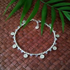 Gypsy goddess anklet - Beaded anklet with tiny coins and white frosted beads by FlorAccessoires