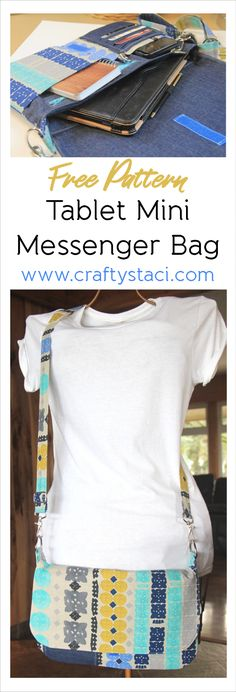 Tablet Mini Messenger Bag with Adjustable Strap – Free Pattern from craftystaci…. Bag Pattern Free, Bag Patterns To Sew, Sewing Patterns Free, Free Sewing, Sewing Diy, Easy Sewing Projects, Sewing Projects For Beginners, Sewing Tutorials, Sewing Hacks