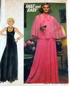 Vintage 1970s Evening Dress & Cape Pattern Bust 38 by linbot1