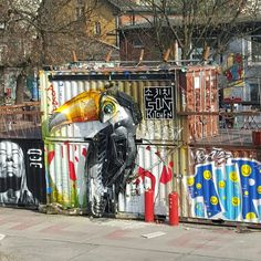 Awesome Tucan and 1UP tag at Urban Spree - Street Art in Berlin, Germany, Europe