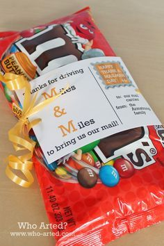 """This is very Mike Gelardi ~ """"Angela - these M&M's don't have any peanuts"""" ~  :)  $5 gifts are good - it's the thought that counts."""