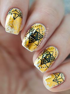 Gold Foil Nail Art with Bundle Monster Musik City stamping