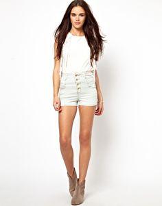 Primark high waist bleach denim shorts
