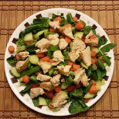 Grilled chicken salad for dinner tonight. Romaine, spinach, tomatoes, cucumbers, snap peas and guacamole dressing DASHdiet