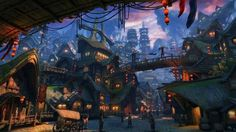 Green Shadow Town Yang Bo fantasy asian oriental china cities detail architecture buildings tower castles people rustic lights colors art cg digital art wallpaper background