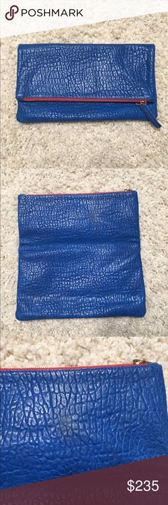 Clare V pebbled blue clutch Leather clutch Clare Vivier Bags Clutches & Wristlets