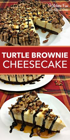 Delicious Turtle Brownie Cheesecake recipe with chocolate and caramel. #cheesecake