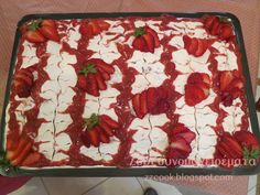 Γλυκό ψυγείου με φράουλες. Sweet Recipes, Food And Drink, Cookies, Kitchen, Pancake, Greek Recipes, Easter Activities, Crack Crackers, Cooking