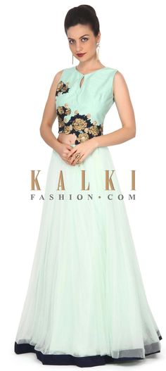 Buy this Pista green lehenga with long jacket blouse only on Kalki
