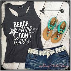 Beach Hair Don't Care Tank in Grey ~ NWT NWT! ~ Raw Edge Beach Hair Don't Care Tank in Grey! This is the perfect summer tank top! It has a racer back styling! Beach hair don't care with a cute little starfish print on the front! Let's go to the BEACH!  Boutique Tops Tank Tops