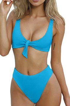 f3f94f1ba8d2f Price   6.99 -  18.99 buy from Amazon ESONLAR Womens Tie Knot Front High  Waist Thong Bandage 2PCS Bikini Sets Beachwear