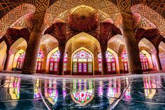 iran-temples-photography-mohammad-domiri-201      This is what the inside of the Nasir Al-Mulk Mosque, located in Iran, looks like. The insides of this historical place of worship are truly incredible. Also known as the 'Pink Mosque,' this temple was completed back in 1888.