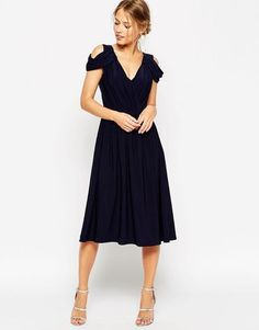 ASOS WEDDING Drape Cold Shoulder Midi Dress - Shop for women's Dress - Navy