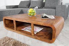 Massiver Couchtisch CURVED 120cm Sheesham Holz Stone Finish TV-Lowboard: Amazon.de: Küche & Haushalt