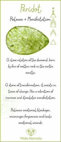 - What is the meaning and crystal and chakra healing properties of peridot? A ston… What is the meaning and crystal and chakra healing properties of peridot? A stone for release, letting go and manifestation. Crystals And Gemstones, Stones And Crystals, Gem Stones, Reiki Symbols, Crystal Magic, Crystal Grid, Crystal Meanings, Gemstones Meanings, Rocks And Gems
