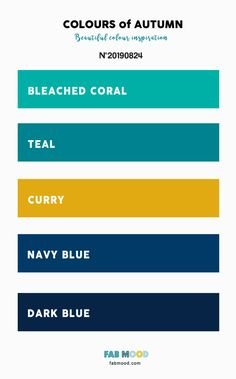 Autumn Color 2019 { Bleached Coral + Curry + Teal + Dark Blue } A pretty colour palette. To get you started on your own palette, we've created over 100 beautiful colour palettes with versatile colour schemes you can take inspiration from. Coral Colour Palette, Teal Color Schemes, Blue Color Combinations, Blue Colour Palette, Living Room Color Schemes, Pantone Colour Palettes, Teal Yellow Grey, Dark Blue Color, Dark Teal