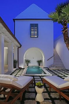 Alys Beach love the poolside deck w/ creeping plants growing between the pavers.