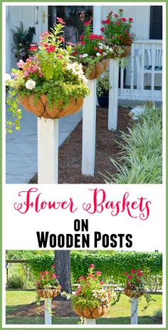Flower Baskets on Wooden Posts