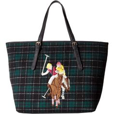 U.S. POLO ASSN. Wyatt Tote (Hunter Green Plaid) Tote Handbags (€27) ❤ liked on Polyvore featuring bags, handbags, tote bags, green, green tote, green tote bag, plaid tote, tote purses and pocket tote bag