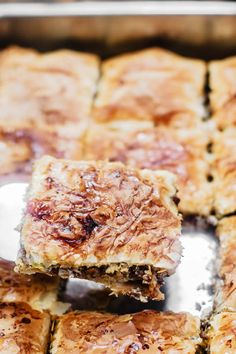 A crispy, flaky, golden phyllo meat pie recipe! Tips and step-by-step instructions included. An easy dinner or holiday dish with a big wow factor! Greek Recipes, Meat Recipes, Cooking Recipes, Hamburger Recipes, Healthy Recipes, Cooking Tips, Healthy Food, Philo Dough, Phyllo Dough Recipes