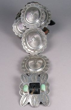 My mother lost her lovely concho belt on the bus coming from town...she never got it back. Vintage Turquoise, Turquoise Jewelry, Silver Jewelry, Vintage Jewelry, Southwest Jewelry, Southwest Style, Concho Belt, Belt Buckles, Silver Belts