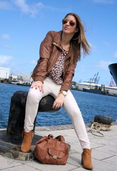 14 Ways To Wear Brown Leather Jacket women clothing outfit fashion style apparel fall white jeans brown boots sunglasses street