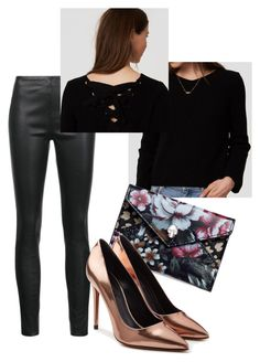 Metallic and Flowers by m-isa-bell on Polyvore featuring LOFT, Veronica Beard, Alexander Wang and Alexander McQueen