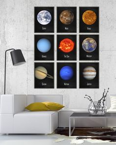 The Solar System Wall Art Poster Set of 9 - NASA Astronomy Prints - Cosmos Home Decor - Space Boys Bedroom Decor - Earth Sun Planets Posters