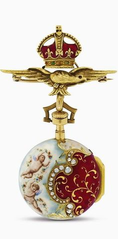 Beautiful enamel and diamond pocket watch with flying eagle and crown fob chain