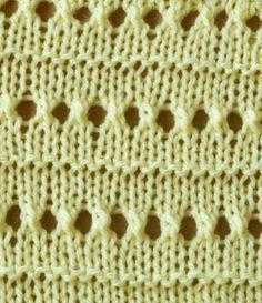 Knitting stitch pattern - lace eyelet stripe - Different knitting stitches Knitting Stiches, Knitting Charts, Lace Knitting, Crochet Stitches, Knitting Patterns, Knitting Designs, Knitting Projects, Lace Patterns, Stitch Patterns