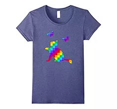 Womens Fun Rainbow Cat Parade T-Shirt - Pride Kitten LGBT Shirt Small Heather Blue