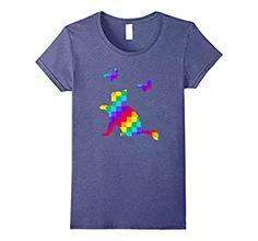 Womens Fun Rainbow Cat Parade T-Shirt - Pride Kitten LGBT Shirt Small Heather Blue