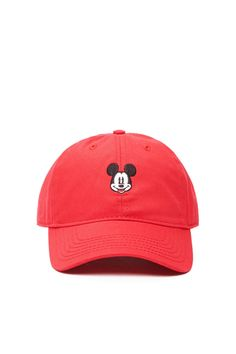 A baseball cap featuring a Mickey Mouse embroidery, a wide brim, and an adjustable back.
